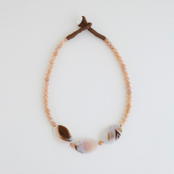 【写真】sai Necklace Pink Agate & Sunstone A