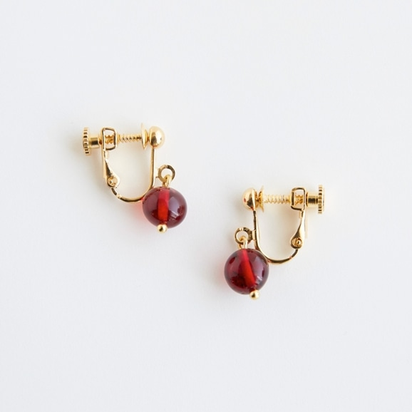 【写真】sai Earring Red Amber