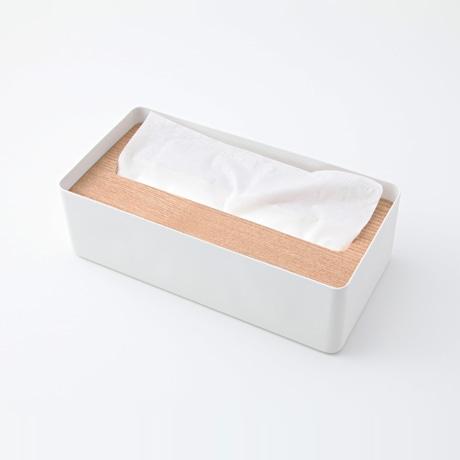 【写真】ティッシュケース 蓋付き ホワイト
