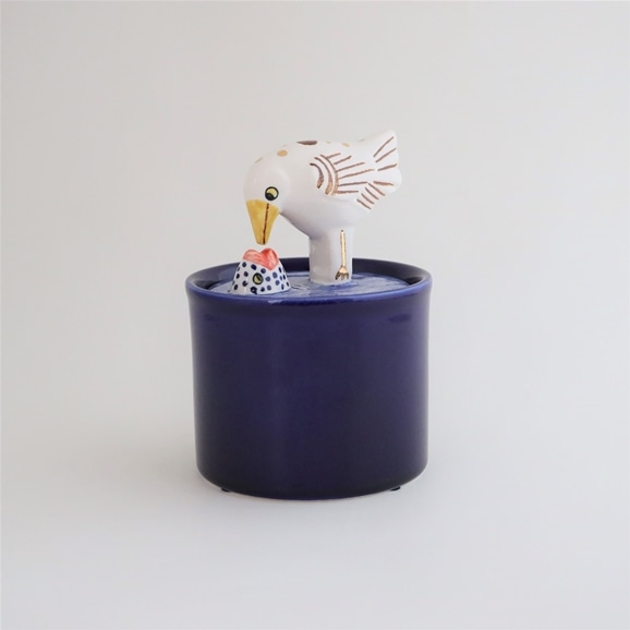 【写真】Lisa Larson Jar with Lid bird & fish
