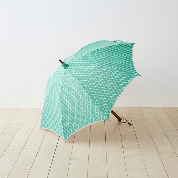 【写真】イイダ傘店 日傘 ダイヤ柄 緑