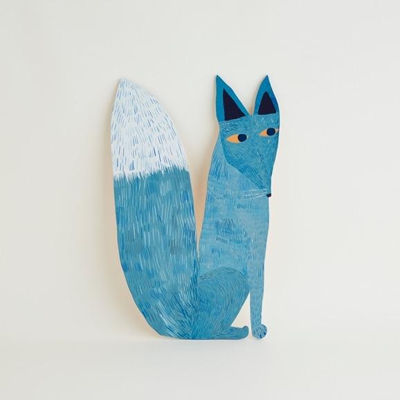 【写真】【一点物】マッティ・ピックヤムサ WOOD PAINTING Blue Fox