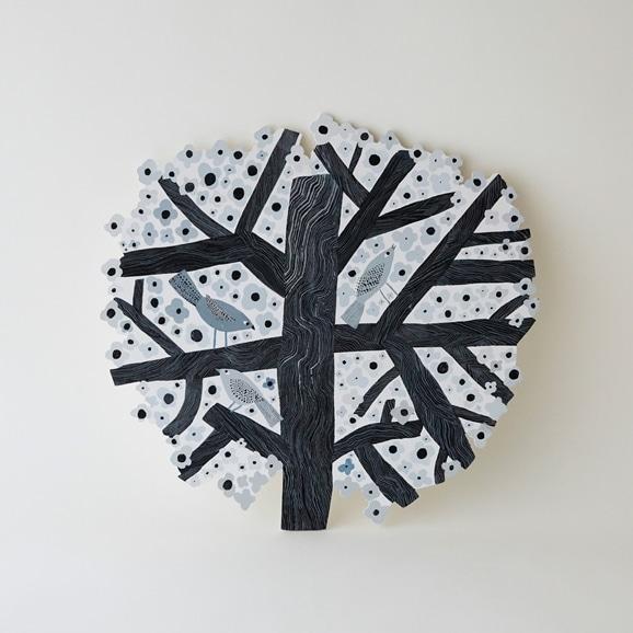 【写真】【一点物】マッティ・ピックヤムサ WOOD PAINTING Tree Of Birds